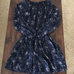 Navy Dress with Shear Long Sleeves and pockets.